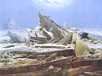 Northwest Passage - Das Eismeer (The Sea of Ice), 1823–1824, a painting by Caspar David Friedrich, inspired by William Edward Parry's account from the 1819–1820 expedition.