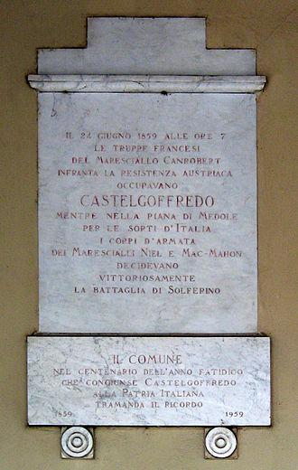 François Certain de Canrobert - Commemorative plaque honouring François Certain de Canrobert in Castel Goffredo.