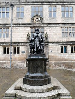 Photo of Shrewsbury School, Shrewsbury Library, Charles Darwin, and Edward VI black plaque