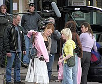 Filming for Casualty at a school in Yate near Bristol. The actress on the right is Susan Cookson (Maggie Coldwell in the series) who joined the cast on 29 January 2005. The four males are crew