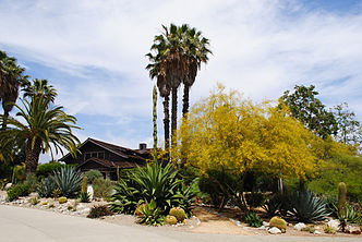 The Rodman arboretum surrounds the Grove House at Pitzer College.