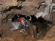 A man caving in muddy passage with helictite formations on the walls and ceiling
