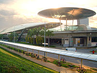 The Expo MRT Station, part of the Mass Rapid Transit system in Singapore.