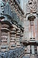 Chandramouleshwar Temple, small pillars carved in Chalukya style on the outer walls of the temple.jpg