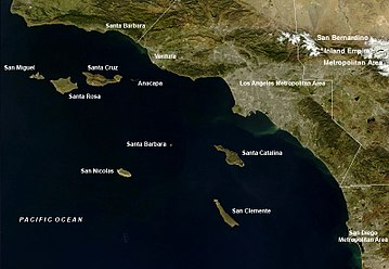 Satellite view of southern California, including the Channel Islands Channelislandsca.jpg