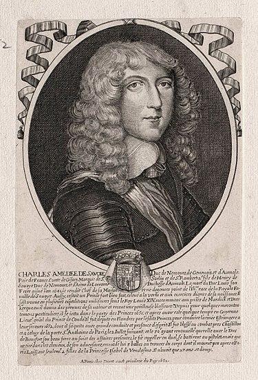 Curiosités historiques 375px-Charles_Am%C3%A9d%C3%A9e_of_Savoy%2C_Duke_of_Nemours_in_1652