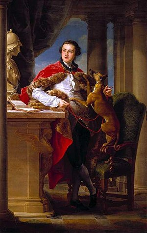 Whippet - Charles Compton, 7th Earl of Northampton by Batoni, 1758, featuring a dog that appears to be an early form of whippet.