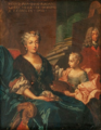 Charlotte Aglaé d'Orléans (future Duchess of Modena) in 1733 with her daughter overlooked by a portrait of her husband by then Hereditary Prince by Nicolas de Largillière.png