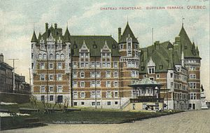 Château Frontenac - An early postcard of the hotel, circa 1910, before later expansions and the construction of the central tower