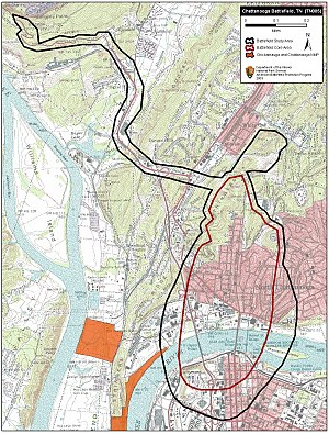 First Battle of Chattanooga - Map of Chattanooga I Battlefield core and study areas by the American Battlefield Protection Program.