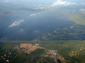 Chembarambakkam Lake - Aerial view of the lake in September 2018