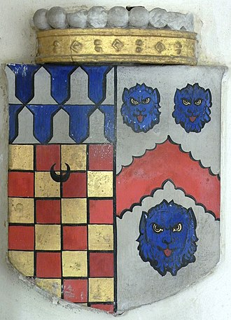 Edward Chichester, 1st Viscount Chichester - Heraldic escutcheon from monument to Edward Chichester, 1st Viscount Chichester (1568–1648) and his wife Anne Copleston (1588–1616), Eggesford Church, Devon. Arms of Chichester impaling Copleston: Baron: Chequy or and gules, a chief vair a crescent sable for difference (Chichester); Feme: Argent, a chevron engrailed gules between three lion's faces azure (Copleston), surmounted by the coronet of a viscount showing 9 of its 16 pearls. The difference of a crescent indicates the arms of a second son