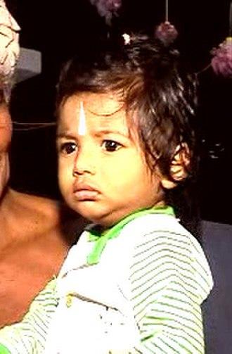 Thirunamam - Child with Thirunamam smeared on the fore head