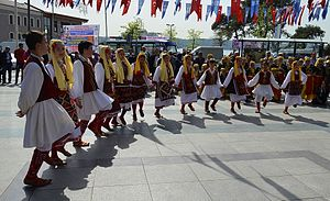 "National Sovereignty and Children's Day - Children from Macedonia performing folk dance on the street on the ""National Sovereignty and Children's Day"" at Beykoz, Istanbul in 2014."