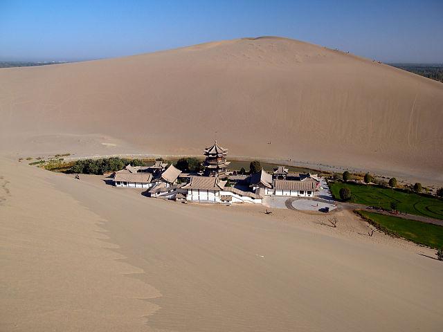 Jazierko Crescent v púšti Gobi