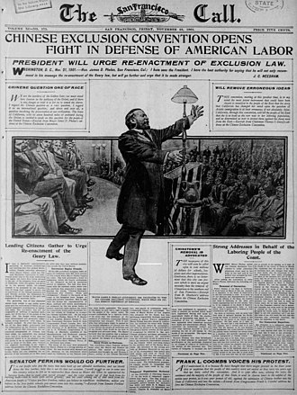 Chinese Exclusion Act - Front page of The San Francisco Call -November 20th 1901, Chinese Exclusion Convention