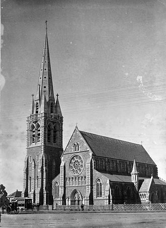 ChristChurch Cathedral, Christchurch - ChristChurch Cathedral prior to 1894 without the western porch