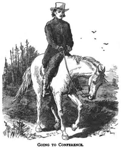 Illustration from The Circuit Rider: A Tale of the Heroic Age by Edward Eggleston depicting a Methodist circuit rider on horseback. Circuit rider illustration Eggleston.png