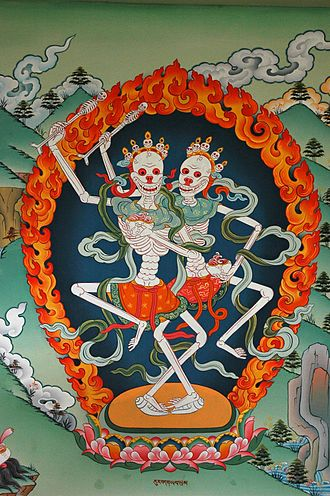 Guhyasamāja Tantra - The Citipati as depicted in a painting in the Gelugpa Monastery, Nepal.