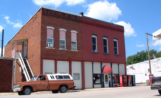 Clarks Hill, Indiana - Storefronts at the corner of White and Division streets.