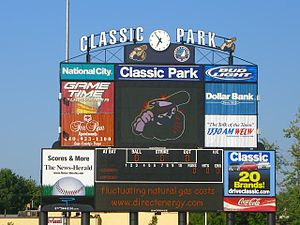 Lake County Captains - Scoreboard prior to a Captains game at Classic Park