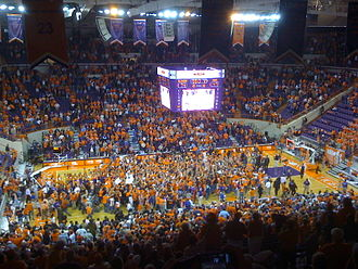 2008–09 Clemson Tigers men's basketball team - Students rush the court after No. 10 Clemson's 74–47 victory over No. 3 Duke (2009-2-4)