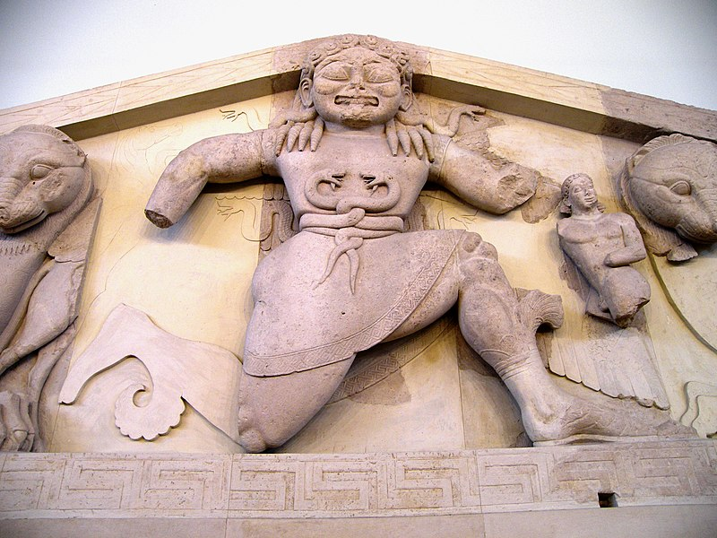 File:Close up of Gorgon at the pediment of Artemis temple in Corfu.jpg