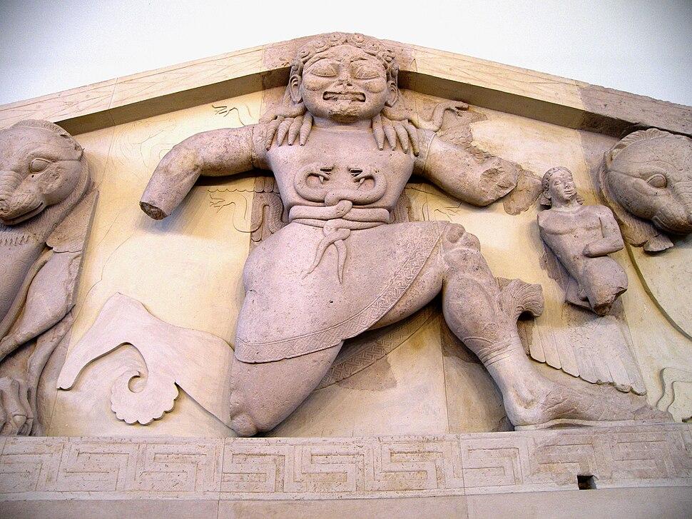 Close up of Gorgon at the pediment of Artemis temple in Corfu