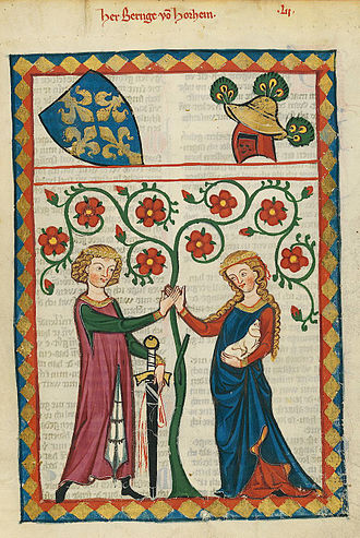 Romance (love) - Bernger von Horheim in the Codex Manesse (early 14th century)