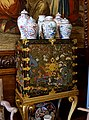 Coffer of Chinese Coromandel lacquer, with ceramics - State Drawing Room, Chatsworth House - Derbyshire, England - DSC03187.jpg