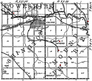 Colfax, Iowa - Map of Colfax from 1908, showing the railroads and coal mines (shown in red) of the region.