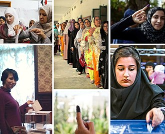 Women in government - A collage of Muslim women voters in the 2010s from different countries such as Algeria, Syria, Pakistan, Jordan, Egypt and Iran.