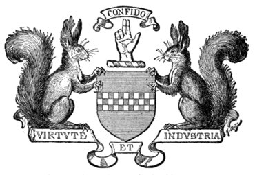 Fig. 668.—The Arms used by Kilmarnock, Ayrshire: Azure, a fess chequy gules and argent. Crest: a dexter hand raised in benediction. Supporters: on either side a squirrel sejant proper.
