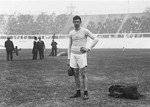 Con Leahy - Leahy after winning the silver in the high jump at the 1908 Games.