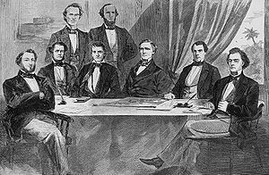 Alexander H. Stephens - The original Confederate Cabinet. L–R: Judah P. Benjamin, Stephen Mallory, Christopher Memminger, Alexander Stephens, LeRoy Pope Walker, Jefferson Davis, John H. Reagan and Robert Toombs.