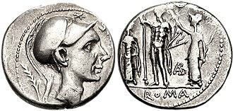Roman army of the mid-Republic - Roman silver denarius issued in 112 BC showing (obverse) helmeted head of Scipio Africanus; (reverse) Jupiter (figure at centre), Rome's highest god, holding thunderbolts. Legend: official state name ROMA beneath. Considered the greatest Roman military leader of the Second Punic War, Scipio permanently drove the Carthaginians out of Spain in a series of brilliant campaigns (210–206 BC) and then became the sole Roman general to defeat Hannibal on the battlefield, at Zama in 202 BC. The denarius coin was introduced in 211 BC, during the war, to replace (and at parity with: c. 4.3 grams) the Greek-style drachma, which until then had served as Rome's main silver currency