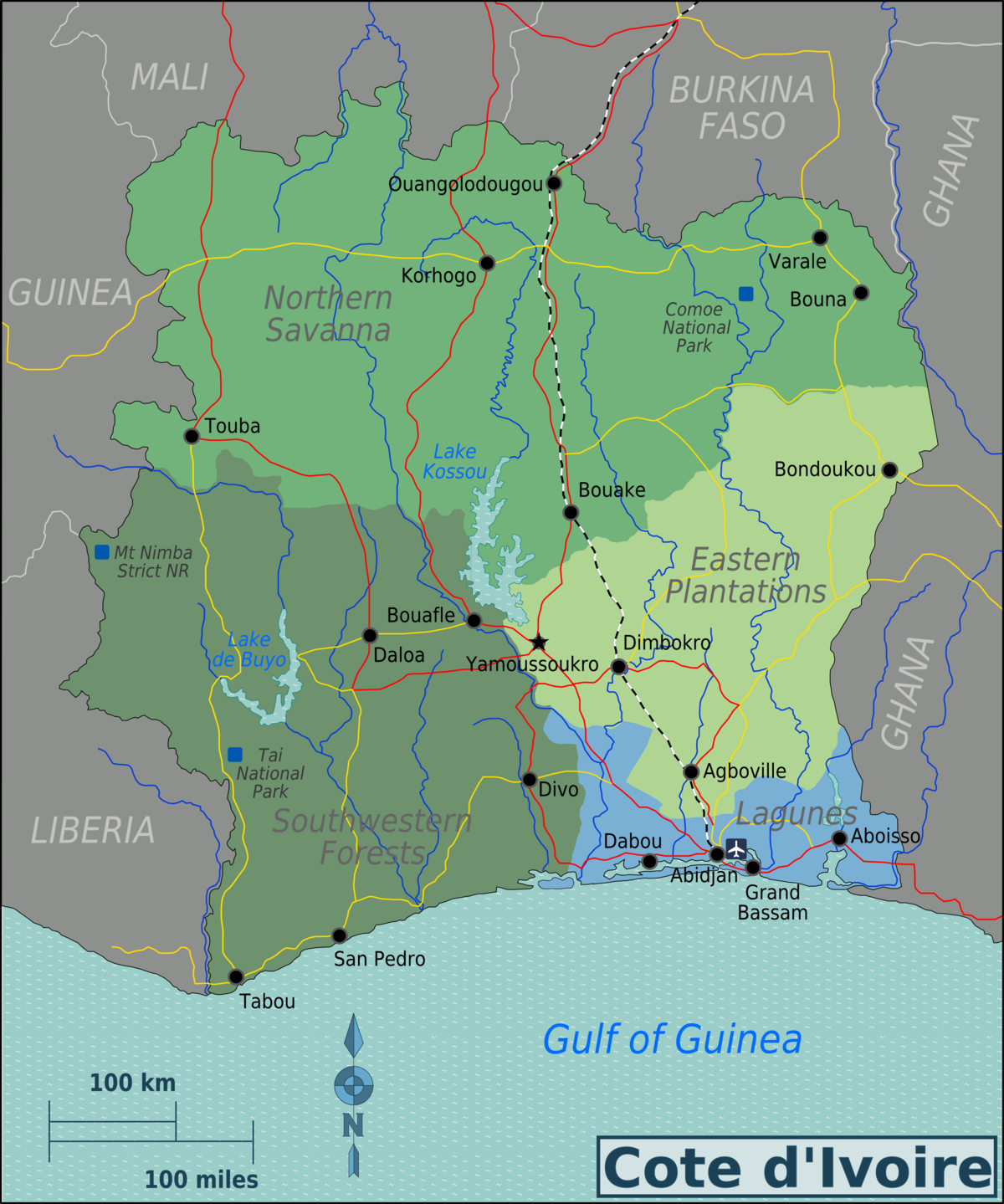 Côte DIvoire Travel Guide At Wikivoyage - Ivory coast map of africa
