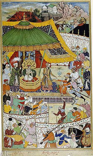 Ain-i-Akbari - The court of Akbar, an illustration from a manuscript of the Akbarnama