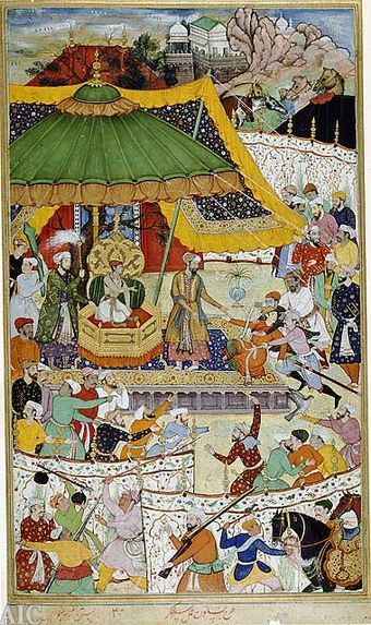 The court of young Akbar, age 13, showing his first imperial act: the arrest of an unruly courtier, who was once a favourite of Akbar's father. Illustration from a manuscript of the Akbarnama Court of Akbar from Akbarnama.jpg