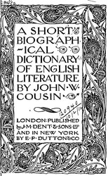 John William Cousin: A Short Biographical Dictionary of English Literature