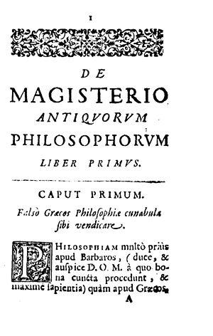 Leonardo Cozzando - De magisterio antiquorum philosophorum, 1684