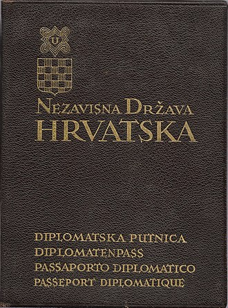 Independent State of Croatia - Croatian Diplomatic passport issued in 1941 to Dr. Mladen Lorkovic.