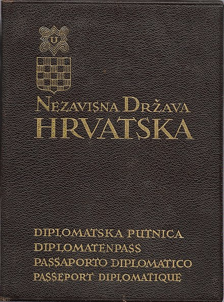 Diplomatic passport issued in 1941 to Dr. Mladen Lorkovic. Croatian Diplomatic passport issued in 1941 to Dr. Mladen Lorkovic.jpg