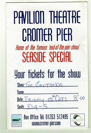 The Manfreds - Ticket for the Pavilion Theatre on Cromer Pier, Show: The Manfreds.