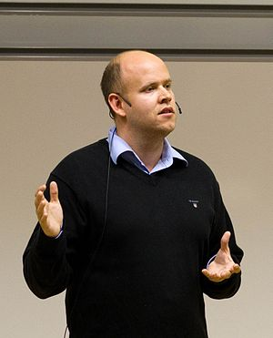 Cropped image of Daniel Ek, CEO of Spotify tal...