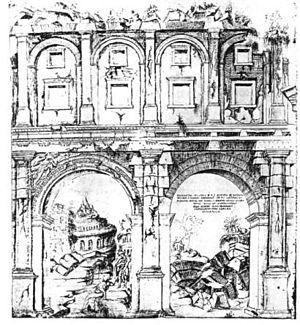Theatre of Balbus - View of the theater's remains in 1561 by Giuliano da Sangallo.