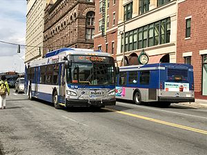 Connecticut Transit - CTtransit New Flyer Xcelsior 1610 and New Flyer D40LF 238 in downtown Hartford on the 38 Weston Street line and 54 Blue Hills Avenue line. 1610 is one of 125 scheduled buses to be delivered in 2017 to replace all 2001 and 2002 New Flyer D40LF.
