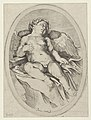 Cupid asleep, resting his right arm on his quiver and his left arm on his bow, an oval composition, after Reni MET DP841754.jpg