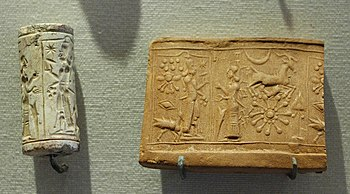 Sigillo cilindrico mesopotamico in calcare e relativa impronta, proveniente da Šamaš (Louvre)
