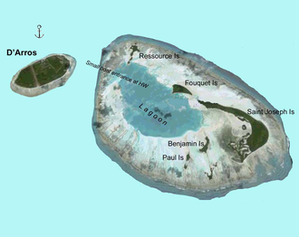 D'Arros Island - Map of D'Arros Island and neighboring St. Joseph Atoll, part of the Amirante Islands group